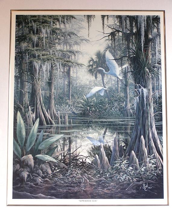Vintage Framed Ben Essenburg Original Florida Crane Print