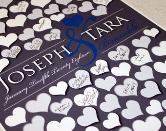 BRIDAL GIFT POSTER | Custom Wedding Guestbooks| Dark Gray Personalized | 151 Guest Sign In 20x30 | Wedding Dimensional Guestbook Poster_01