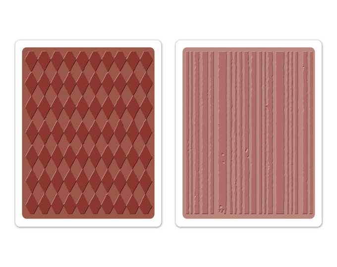 Sizzix Tim Holtz Texture Fades Embossing Folders - HARLEQUIN & STRIPES Set (657849)