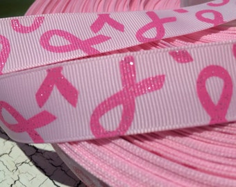 "7/8"" Glitter BREAST CANCER AWARENESS Pink grosgrain ribbon sold by the yard"