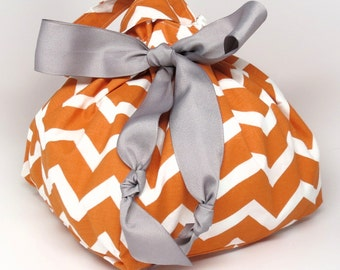 Pumpkin Spice Chevron - Choice of Size - Plum Creek Project Bag (O-001)