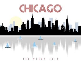 Chicago skyline, Chicago art, Chicago poster, city scape, wall decor, Skyline poster, Chicago print, The Windy City