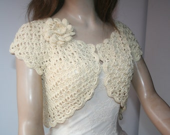 Wedding Bridal Bolero Shrug Lace Crochet Shrug Boleros Cream