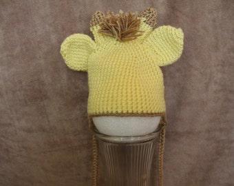 crochet, baby, earflap, giraffe