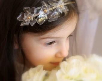 Gold Centered Triple Flower Headband