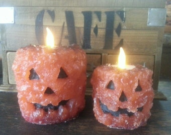 Grubby LED Flicker Pumpkin Pillar Candle (unscented)