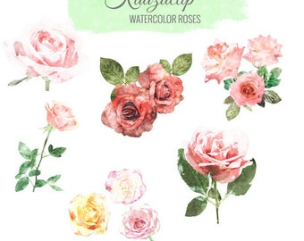 Watercolor Roses Set - Commercial and Personal Use