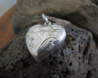 Fantastic Vintage Sterling Silver Etched Heart Charm or Pendant