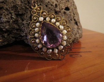 Dazzling Edwardian Gold Filled Necklace with Amethyst Glass Stone and Faux Pearl Pendant
