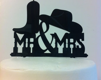 Mr & Mrs Hat Boot Rustic Country Western Font  Wedding Cake Topper