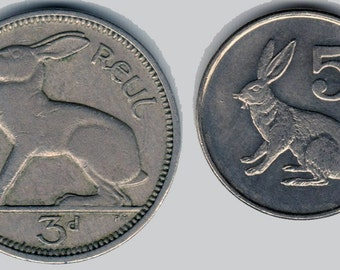 Rabbit coin duo - Bunny Rabbit coins - two bunny coins from Zimbabwe and Ireland - Easter bunny - Irish coin - African coin