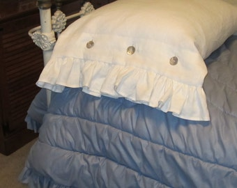 White Linen Body Pillow Cover with ruffles