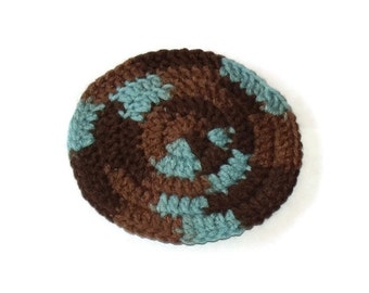 FREE SHIPPING Blue and Brown Crochet Yarmulke Kippah