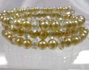 Glass Pearl Memory Wire Bracelet -