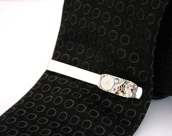 Steampunk Watch Movement Tie Bar Silver Mens Accessories Tie Clip Gift For Dad Fathers Day Gift Tie Bar For Him