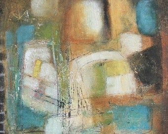 abstract original painting geometric circles modern art acrylic orange blue ivory green Leah Fitts
