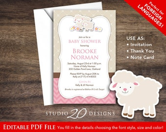 Instant Download Pink Little Lamb Baby Shower Invitations Editable Pdf, DIY  4x6 Printable Baby Shower