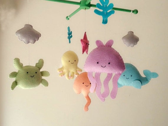 Baby crib mobile sea animal mobile ocean mobile under by for Sea animal baby mobile