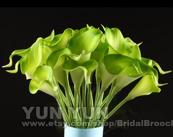 100pcs  green  Cally Lily Real Nature Touch Flowers for DIY Bridal Bouquet Wedding Bouquet with Scent high quality KC52