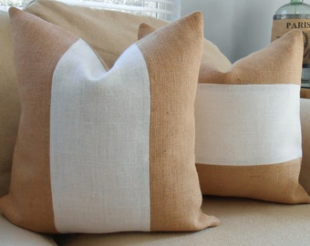 Two Tone Natural & Off White Sultana Burlap Pillow Cover