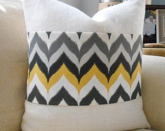 Grey, yellow, charcoal & white chevron burlap pillow cover