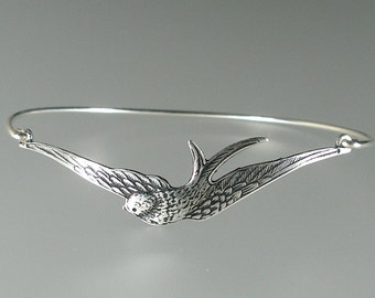 Silver Swallow Bangle Bracelet, Silver Bangle Bracelet, Silver Swallow Bracelet, Bridesmaid Jewelry, Silver Bracelet (168S,)