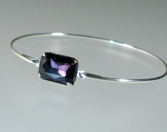 Amethyst Purple Octagonal Glass Bangle Bracelet, Silver Bangle Bracelet, Silver Bracelet, Bridesmaid Jewelry (G255S.)