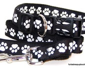 whilte paw prints on black- adjustable dog collar and leash set. choose YOUR size.