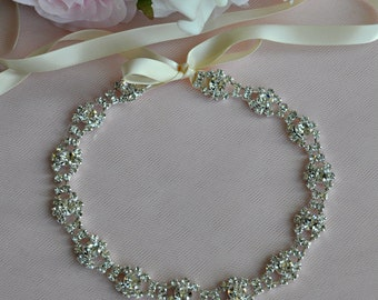 Ready To Ship - Wedding Hair Accessory, Beaded Headband, Bridal Headband, Crystal Ribbon Headband, rhinestone headband, hair accessories