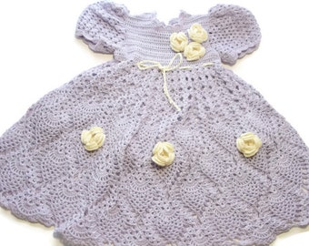 Baby Crochet Lace Dress Newborn Preemie Reborn doll Handmade OOAK in Lilac with Yellow Flowers