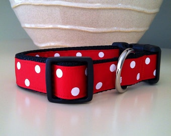 Dog Collar- Red with White Polka Dots