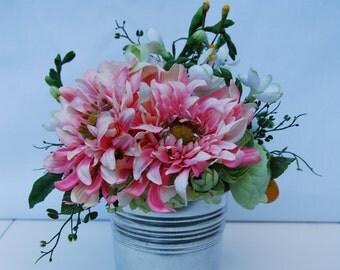 Silk Floral Arrangement Pink Dahlias, Peony, and Ranunculus Floral Arrangement