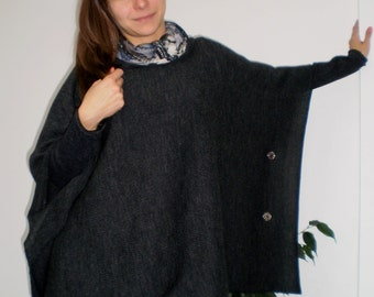 Knitting Pattern Side Button Poncho : Ultra Comfortable Warm Revesible Knitted Poncho with side