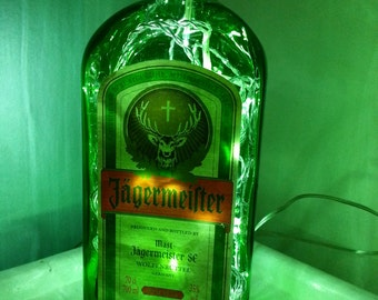 Upcycled Modern Cool Jagermeister Bottle Lamp 70cl - by iluvlamp
