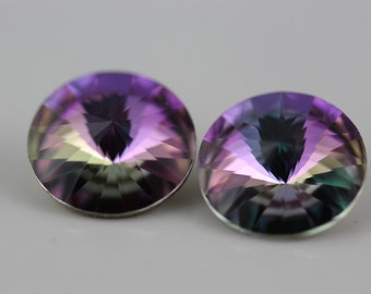 2 ~Crystal Vitrail Lt., Swarovski Rivoli Stones (1122)  14mm  (D-5B)