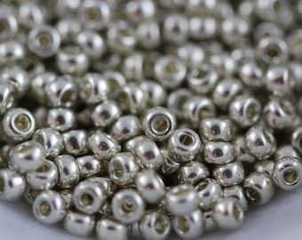 11/0 Galvanized Silver, Miyuki seed beads, #1051 ~ 10/20 grams (M-7B)