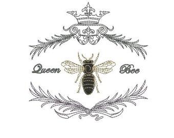 Queen Bee Logo Vintage Queen B...