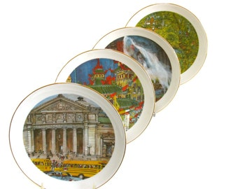 A Set of 4 Limited Edition Collectible Chicago Plates by Artist Franklin McMahon Featuring Buckingham Fountain and Other Chicago Landmarks