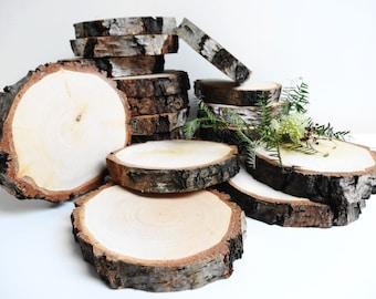 "5""-4"" Wood Slices,Birch Wood Slices, Tree Slices,Bark Wood Slices, Rustic Wedding Decor, DIY Supplie, Woodworking, Set of 5 (B08)"