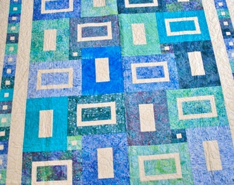 Seaglass Batik Twin-Sized Quilt