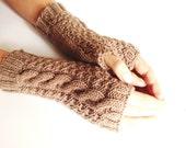 Brown Caramel Hazelnut Fingerless gloves  Mittens  Hand warmers Light Brown Gloves  Hazelnut Coffee Caramel