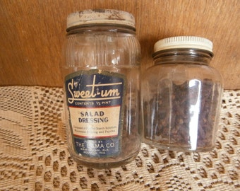 Pair of Art Deco Jars with Spices, Label, Good for Movie/TV Sets,  Vintage, Kitsch