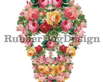 Floral Skull Design - Digital Clip Art Graphics for Personal or Commercial Use