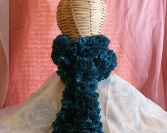 Ribbon Ruffle Scarf: Laguna-Blues and Teal
