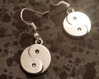 Silvertone Yin Yang Earrings