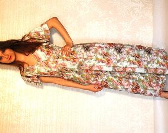 XL MAXI  Summer Romantic Pastel Maxi Dress/ Floral Maxi Dress / Wedding Dress / Boho Maxi DRESS / Size Large