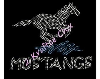 Mustangs Rhinestone Tshirt, Mustangs Bling Tshirt, Mustangs Rhinestone Shirt, Mustangs Bling Shirts