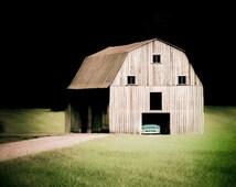 "Old Barn Art, Vintage GMC Truck, Fine Art Print, Photography, Mint, Aqua, Wall Decor, Black and White, Rustic Decor, Garage Art- ""In a Barn"""