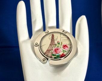 Bag Hook Hanger- Purse Hook, Handbag Hanger -  Vintage Paris Flower
