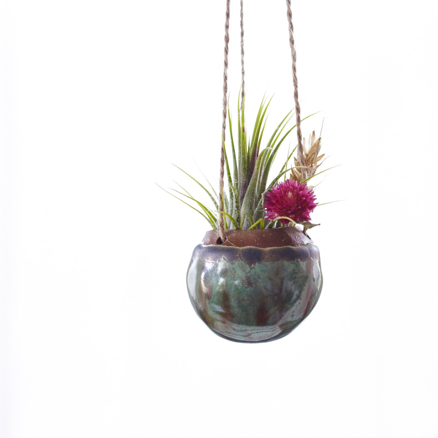 Small hanging planter for air plant in gun metal green made to - Metal hanging planter ...
